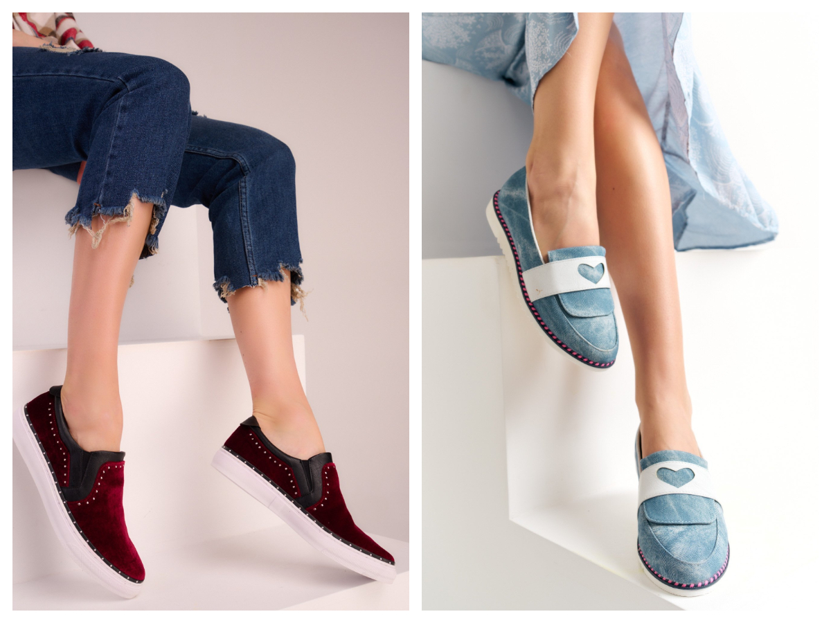 buty slip-on z białą podeszwą
