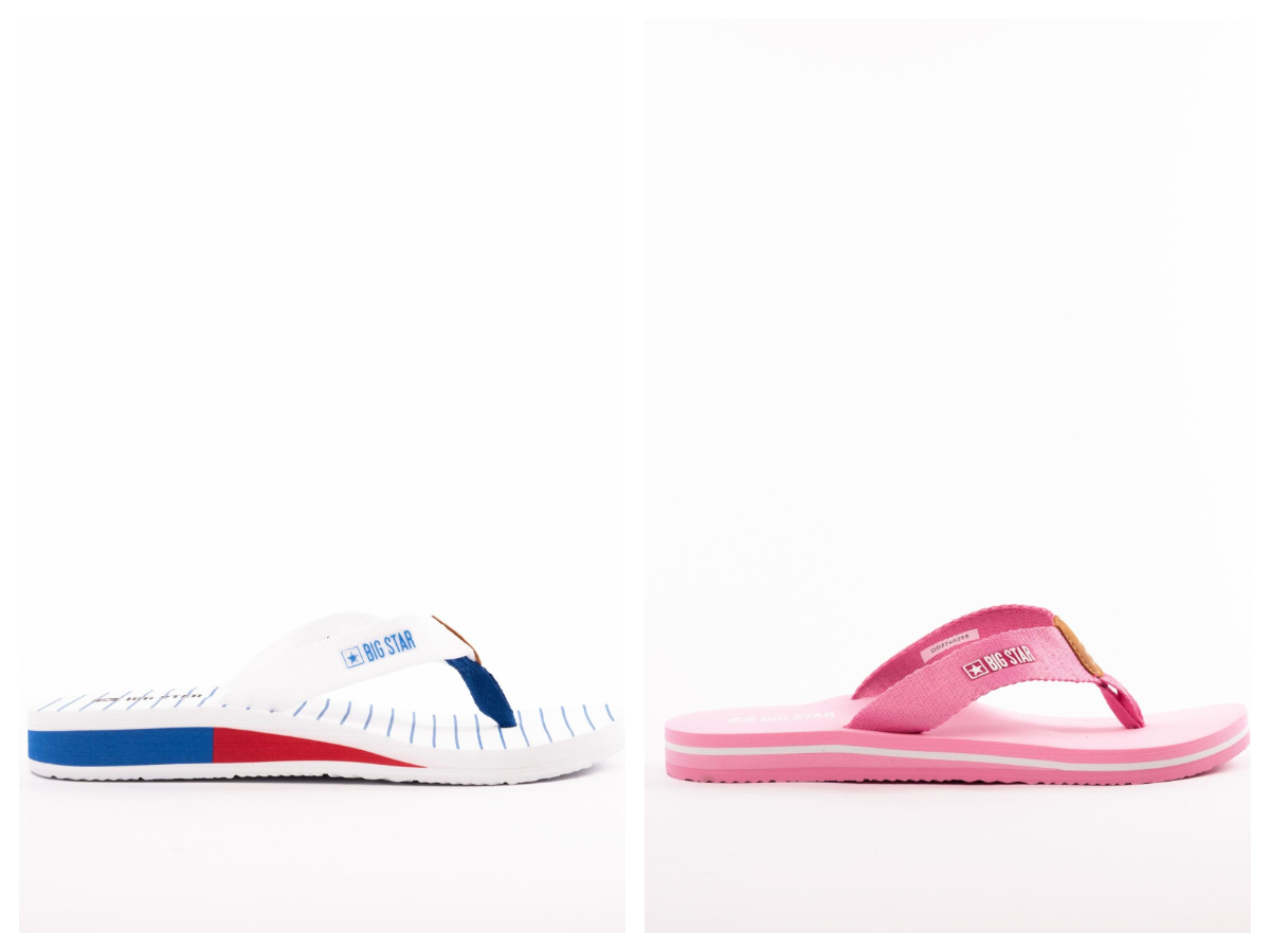 buty na plażę japonki na gumowej podeszwie w różowym kolorze